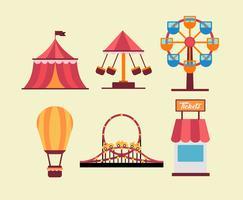 Amusement Park Rides Vector