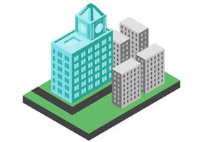 eastern landmark building isometric illustration