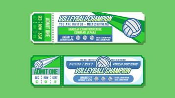 Vecteur de billet d'événement de champion de volley-ball