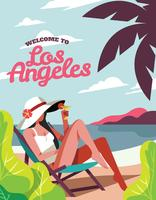 Vintage Los Angeles Background Illustration