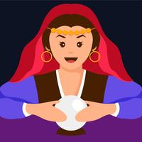 Fortune teller flat illustration
