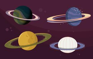 Anel de Saturno Vector Flat