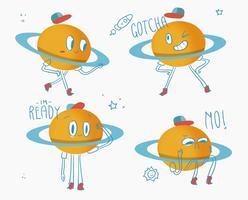 Gullig Saturn Planet Karaktär Doodle Vector Illuatration