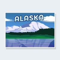 Carte postale de vecteur d'illustration de l'Alaska