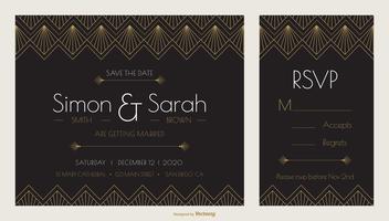 Art-Deco-Hochzeits-Einladungs-Design-Vektor-Schablone