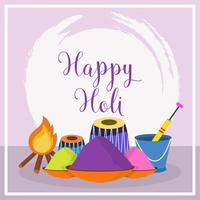 Flat Happy Holi Vector Illustration