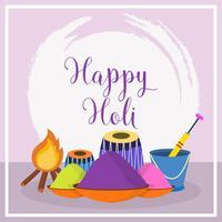 Flat Happy Holi Vector Illustration