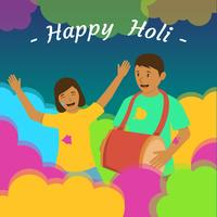 Couple Celebrating Holi Festival