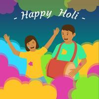 Paare, die Holi-Festival feiern