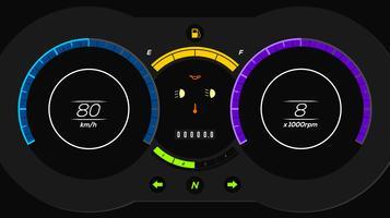 Electric Car Dashboard UI Vector