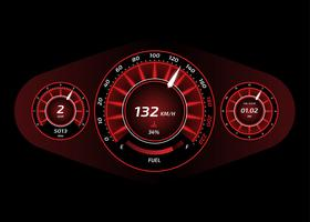 Car Dashboard UI Red Vector