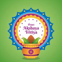 Akshaya Tritiya Celebration With A Golden Kalash Illustration vector