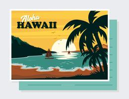 Vector de la postal de Hawaii