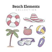 Beach Elements Collection In Watercolor Style