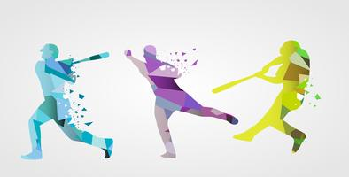 Abstract Colorful Baseball Player Vector Flat Illustration