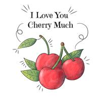 Watercolor Cherries With Inspirational Quote And Play-Words vector