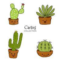 Söt kaktus leende uppsättning