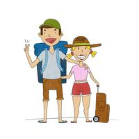 Cute Happy Couple With Travel Clothes