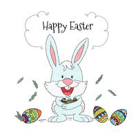 Easter Bunny With Colorful Eggs Background