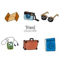 Watercolor Travel Set Elements