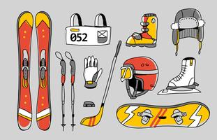 Winter Sport Olympic Kit Hand getrokken vectorillustratie