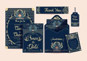 Art Deco Wedding Invitation Classic Vector