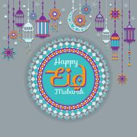 Illustration Happy Eid on Colorful Lantern, Mosque, Star and Moon Decorated Background for Muslim Community Festival Celebration