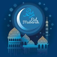 Eid Mubarak, Vector Illustration with Shiny Moon and Hanging Lamps on the occasion of Muslim Festival Eid Mubarak