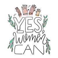 Lettrage sur la journée de la femme avec des feuilles et des mains de femmes