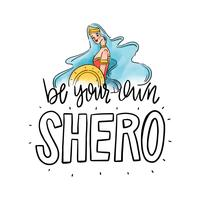 Lettering about Women's Day With Super Hero Woman With Long Blue Hair