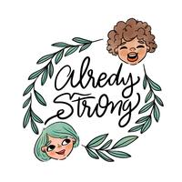 Lettering About Women's Day With Leaves And Two Women Head Around