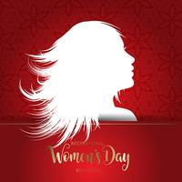 International Women's Day background with silhouette of female f vector