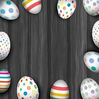 Easter eggs on old wood texture