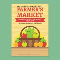 Farmers's market flyer vector template