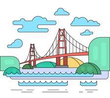 Paisagem plana com ponte vermelha vetor