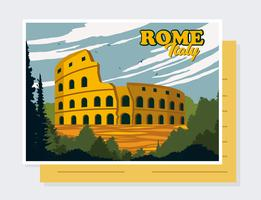 Rome Italy Postcard Vector
