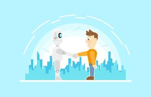 Ai robot Future Friendly Technology Flat Illustration Vektor
