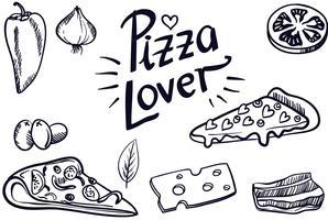 vectores vintage amante de la pizza