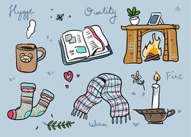 Hygge Stuff dessinés à la main Doodle Vector Illustration