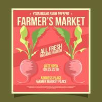 Vector de Flyer de mercado de agricultores de rábano orgánico