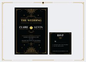 Elegant Gold Classic Art Deco Wedding Invitation Template Vector