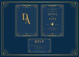 Elegantes blaues Goldpack Art- DecoHochzeits-Einladungs-Schablonen-Vektor