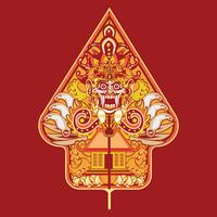 Illustration vectorielle Wayang Gunungan d'Indonésie