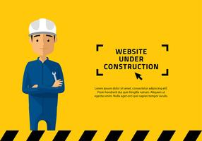 Website sob o vetor de personagem de construção
