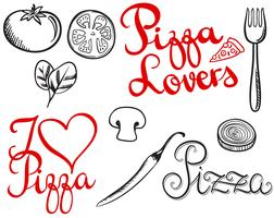 Vintage Pizza Lovers 2 Vectors