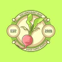 Weinlese-Rettich-Landwirt-Markt-Logo Vector