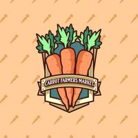 Vector do logotipo do mercado de cenouras e fazendeiros