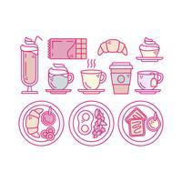 Ícones de contorno de café da manhã vetorial