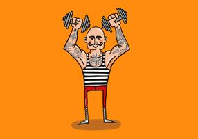 tattooed strong man vector