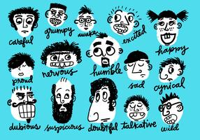 emotional character faces vector